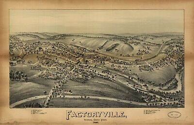 A4 Reprint of American Cities Towns States Map Factoryville Pennsylvania