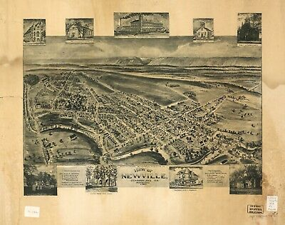 A4 Reprint of American Cities Towns States Map Newville Pennsylvania