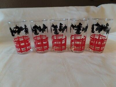 Vintage Scottie Dog & Red Fence Federal Glass 12 oz.Tumblers Set of 5 Excellent