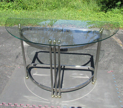 Art Deco / Machine Age style 70s? Chrome Glass Demilune Half Moon Console Table