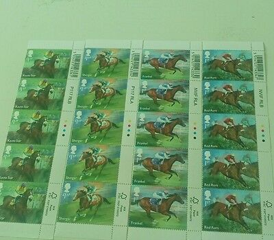 mixed lot RACEHORSE LEGENDS 20 x Stamps  6th April 2017 Mint.red rum ,frankel