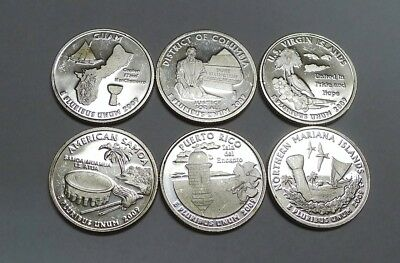 Complete Set 2009-S SILVER Proof US Territories and DC Quarters!  6 Coins.