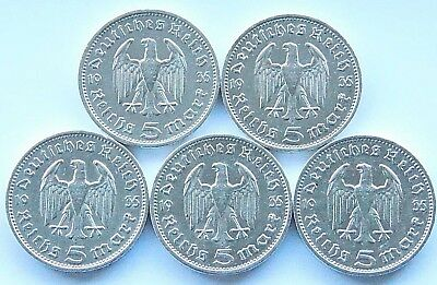 GERMAN Coin 5x 5 MARK REICHSMARK 1935 A - J EAGLE HINDENBURG Silver 3rd WW2 Set