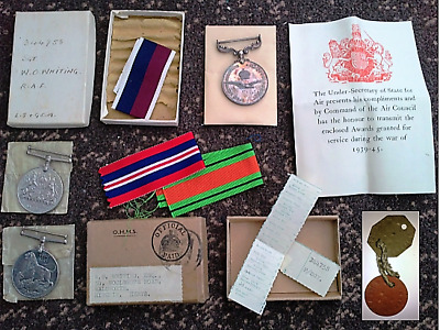 WW2 Medals & Dog Tags to RAF Sgt Whiting 344756 DEFENCE WAR LONG SERVICE LSGC