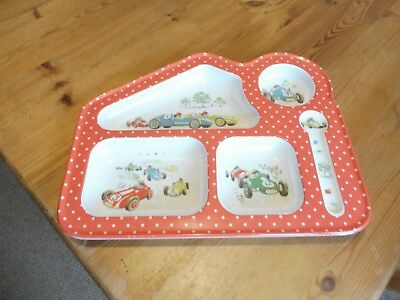 Cath Kidston boys' eating platter. Racing cars pattern, lovely quality