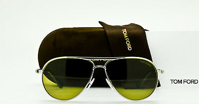 eded800599d NEW TOM FORD MARKO TF144 18N Shiny Rhodium Aviator Frame Green 58mm Lenses