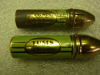 2 Vintage Tums Tin Flashlights 1 Working & 1 With Original Battery