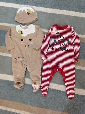 2 Christmas Baby Grows 3-6 Months