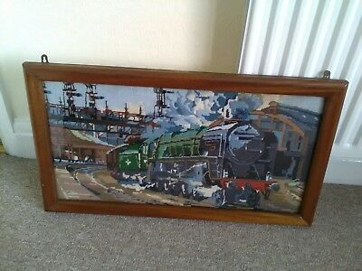 Vintage Large Framed Wall Hanging Tapestry Of A Steam Train. COLLECTION ONLY.