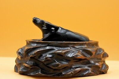 19th Century - Antique, CHINESE Hand Carved, Soapstone OX Cow 牛/丑 on Wooden Base