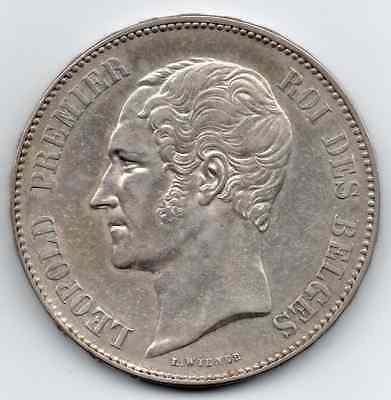 **high Grade** 1850 Belgium 5 Franc (Dot Above Date) **scarce Condition**