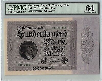 Germany, Reichsbanknote 1923 P-83a PMG Choice UNC 64 100,000 Mark
