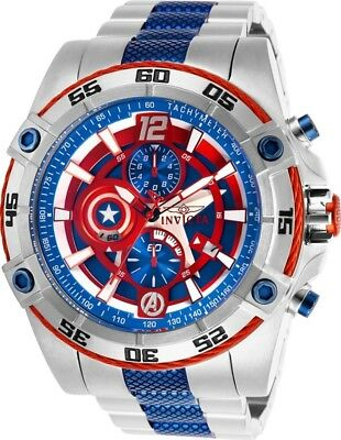 Invicta Marvel Captain America Speedway Viper Chronograph Steel 52mm Watch New