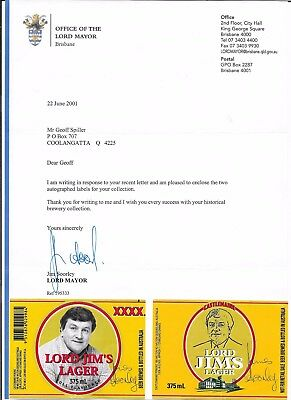 Jim Soorley - Ex Brisbane Mayor - Hand Signed Correspondence & 2 Ltd Ed Labels