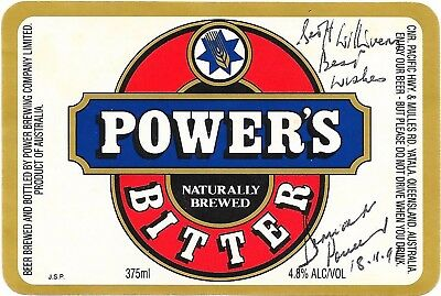 Bernard Power - Chairman Power Brewing - Hand Signed Beer Label - Power's Bitter