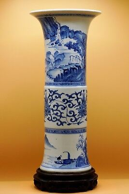 17th Century - Large CHINESE Transitional EARLY KANGXI Blue White Gu BEAKER VASE
