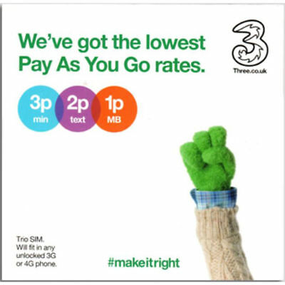 Three 3G 4G Pay As You Go PAYG Data Triple cut SIM Card - 200MB FREE Every Month