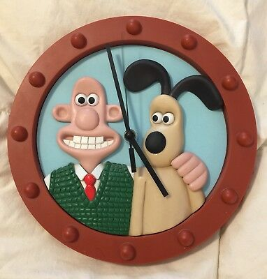 """Wallace & Gromit Wall Clock 3D """"A Grand Day Out"""" 1997 Aardman Excellent Cond"""