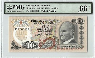 Turkey 1970 (ND 1972) P-189a PMG Gem UNC 66 EPQ 100 Lira