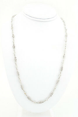 "Filigree Vintage Diamond By Yard 14K White Gold 0.5CT Diamond Chain 18"" Necklace"