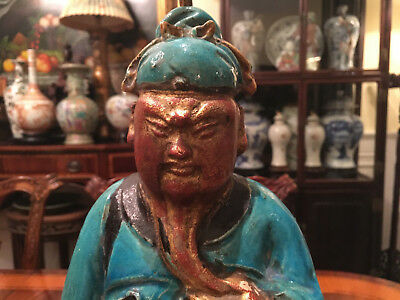 A Large and Rare Chinese Ming Dynasty Ceramic Statue with Wooden Stand, Lamp.