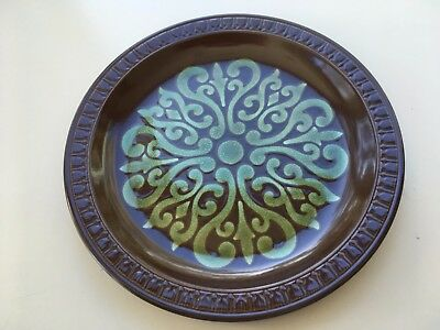 Vintage Retro green & brown Dinner plate.Made Japan.26.5cm diam.VGC.Mid Century