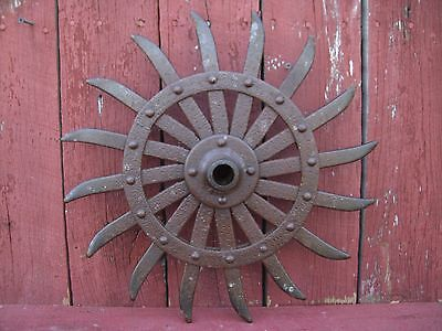Vintage Cast Iron Spiked Wheel Rotary Hoe, Cool Steampunk/Industrial Decor