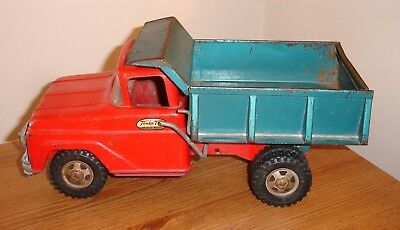 Vintage 1960's Tonka Dump Truck - Mound, MN Label, red and green, pressed steel