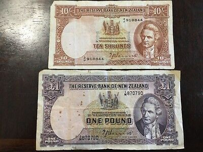 Old New Zealand Ten Shilling and One Pound Banknotes