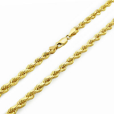 10K Yellow Gold Unisex 4mm Light Diamond Cut Rope Chain Pendant Necklace 20""