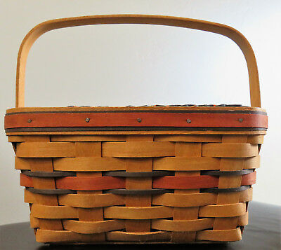 1994 Longaberger Boo Basket, Liner & Protector w/ Riveted Handle
