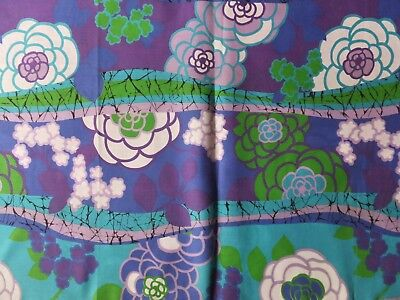 VINTAGE 1960's AQUA BLUE PURPLE LAVENDER GREEN FLORAL ABSTRACT ART COTTON FABRIC