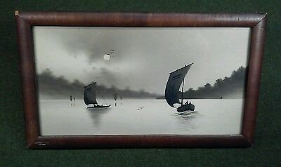Antique Black & White Japanese Asian Woodblock Art Sailboats Lake Framed 1900's