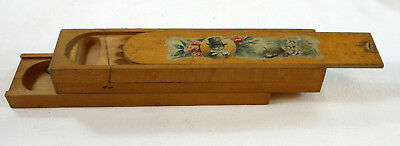 3 Level Antique Wooden Pencil Box w Cat & Kittens Victorian Wood Case & Contents