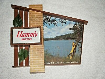 Hamm's beer Chalet style sign non-lighted with original ivy water ski lake cabin