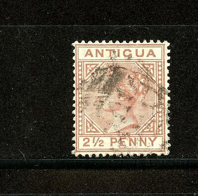 Antigua #13 (AN603) Queen Victoria 2 1/2p red brown, Used,FVF, CV$67.50