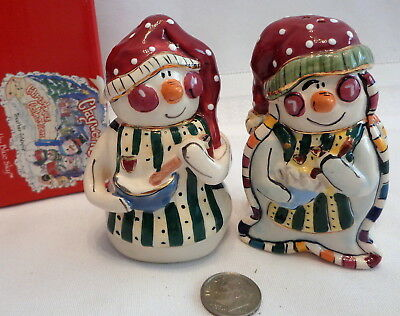 ~Blue Sky Clayworks Snowman & Snowlady Salt & Pepper! MIB! TOO CUTE FOR WORDS!~