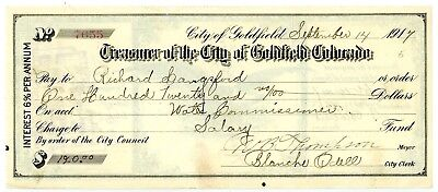 Ghost Town Goldfield Colorado Treasurer's Check 1917