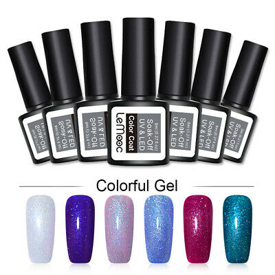 LEMOOC 8ml Glitter UV Gel Polish Holographic Sequins Soak Off Nail Art Varnish