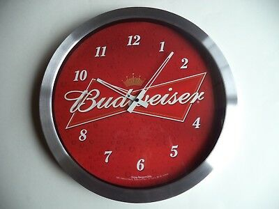 Budweiser Iconic  Battery Operated  Wall Clock Sign - Rare - New In Box