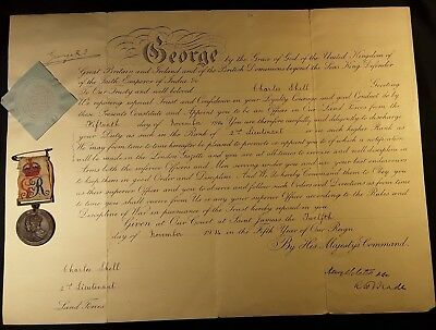 KING GEORGE V SIGNED MILITARY APPOINTMENT 1914 with CORONATION MEDAL