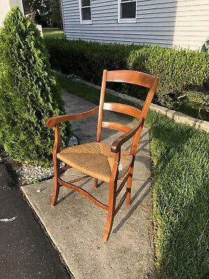 Wooden Ladder Back Arm Chair With Rush Seat