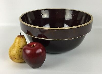 "Antique 12"" Stoneware Mixing Bowl With Brown Glaze - American Pottery Bowl"