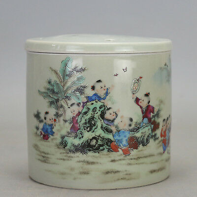 Chinese old porcelain famille rose glaze child play pattern Cricket cans c01