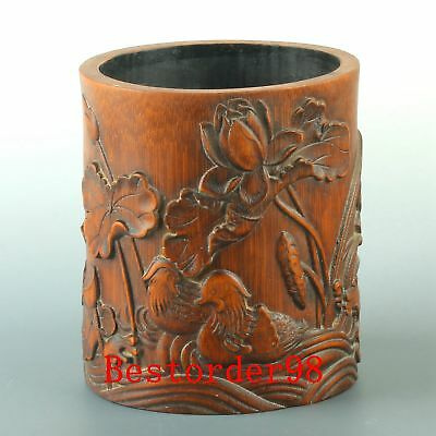 Chinese Exquisite Bamboo Handwork Carved Lotus & Mandarin Duck Brush Pot CC0312