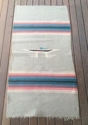 "Vintage Native American Mexican  Hand Woven Wool Rug 31"" by 61"""