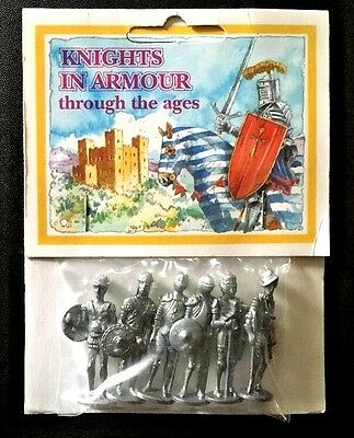 Set of SIX Knights in Armour by Westair Pewter Made in England NIP FREE SHIPPING