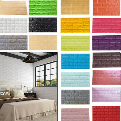 Foam 3D Self Adhesive Wall Stickers DIY Home Decor Wallpaper Embossed Brick US