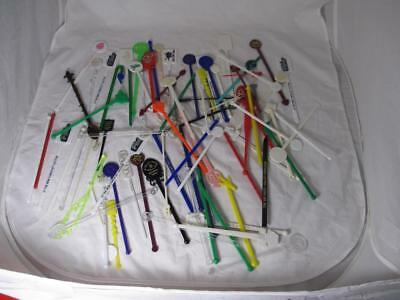 VTG LOT of 80+ Airlines Hotel Casino Drink stirrers Plastic Swizzle Sticks BAR