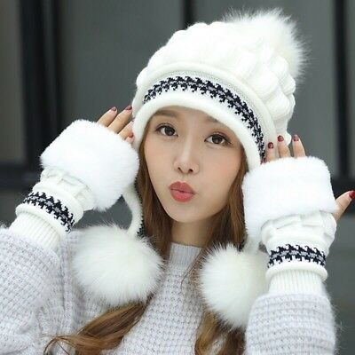 Women's Winter Thick Thermal Fleece Ear Protection Knitted Beanies Hat Glove Set